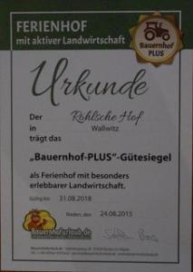 Der Röhlsche Hof - Erlebnisbauernhof in Wallwitz Sachsen-Anhalt - Zertifikat 1